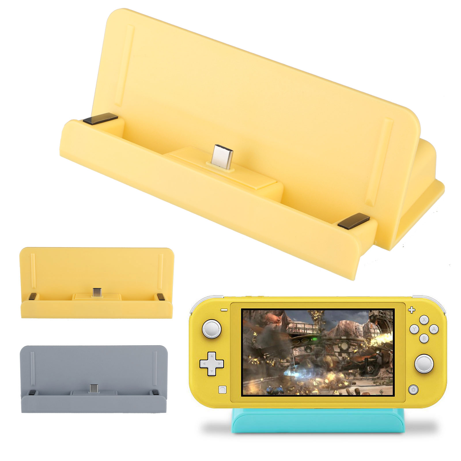 TSV Controller Charger Charging Dock Station Stand Replacement with Charging Port Fit for Nintendo Switch Lite Console Charging & Playing, Portable Charger Dock with USB Type C Cable Cord for Travel
