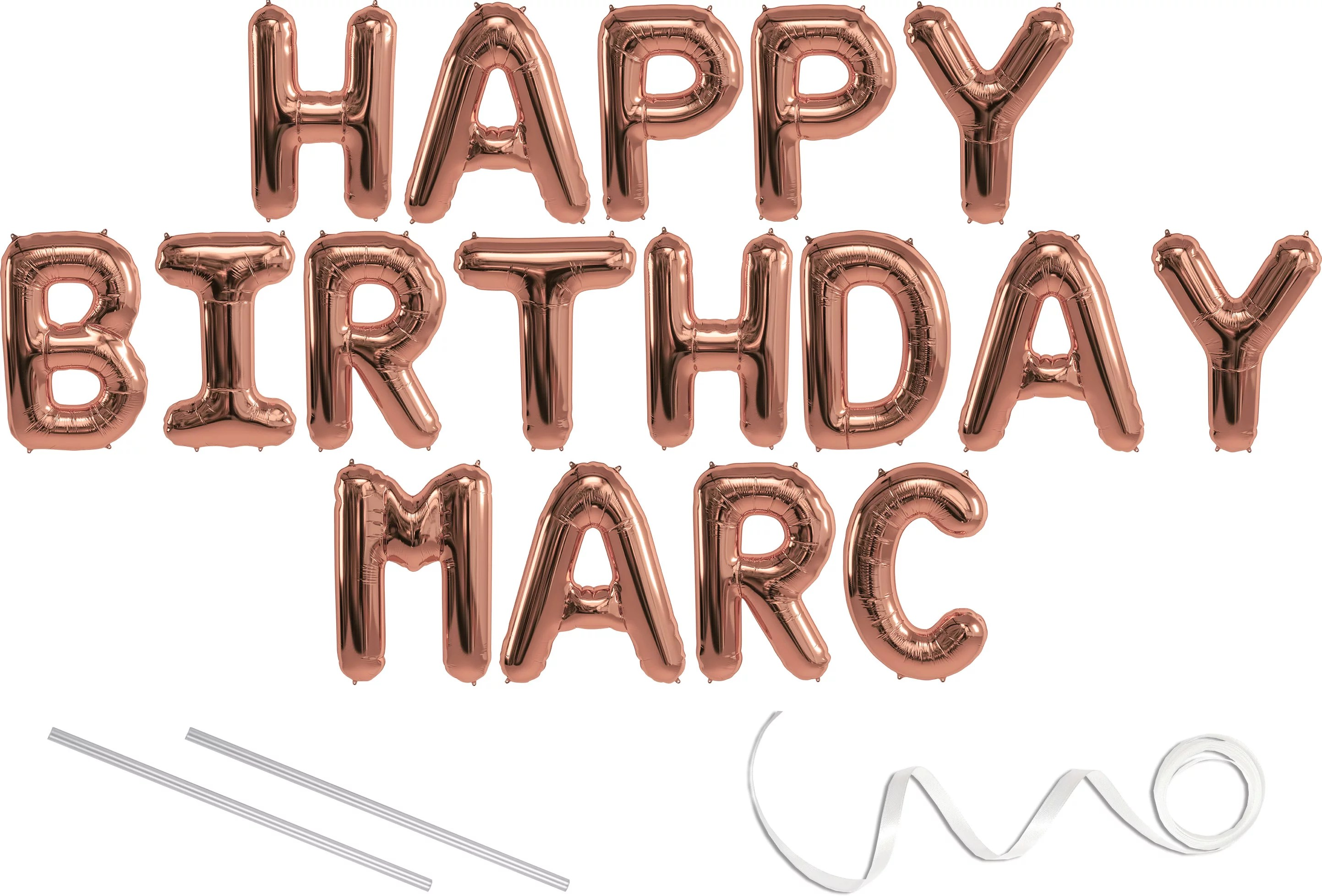 Marc Happy Birthday Mylar Balloon Banner Rose Gold 16 Inch Letters Includes 2 Straws For Inflating String For Hanging Air Fill Only Does Not Float W Helium Great Birthday Decoration