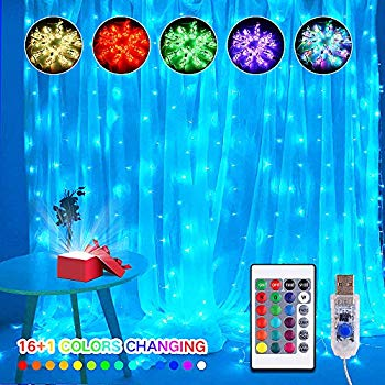https www walmart com ip 16 color changing rainbow curtain lights backdrop window string lights 310led usb remote control fairy icicle weddings party christmas decor birthday 220775398