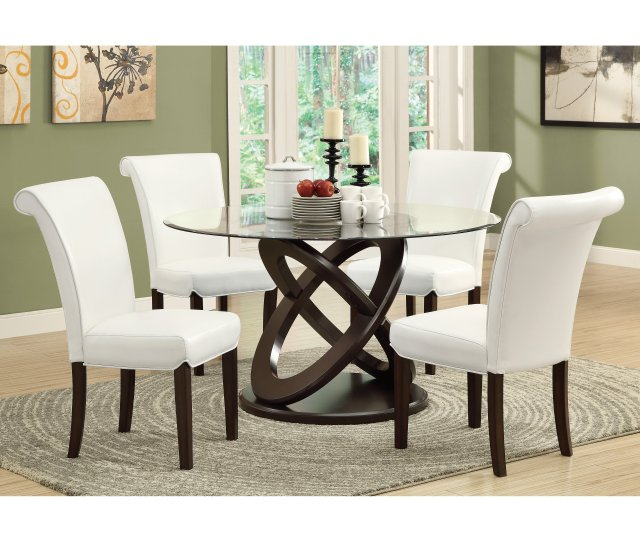 Monarch Olympic Ring Dark Espresso Glass Top Round Dining Table Walmart Com