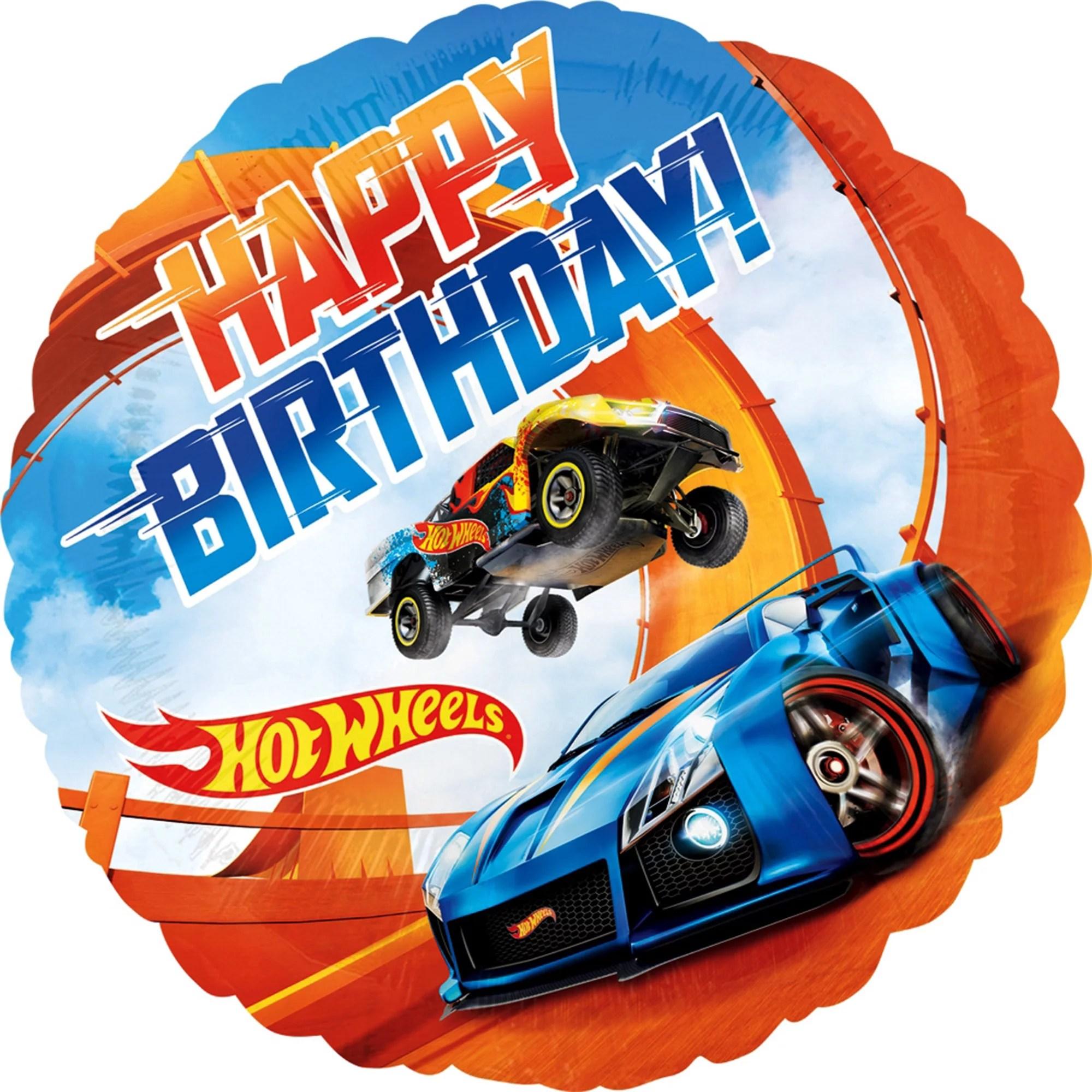 Hot Wheels Happy Birthday Foil Balloon 18 Each Walmart Com Walmart Com