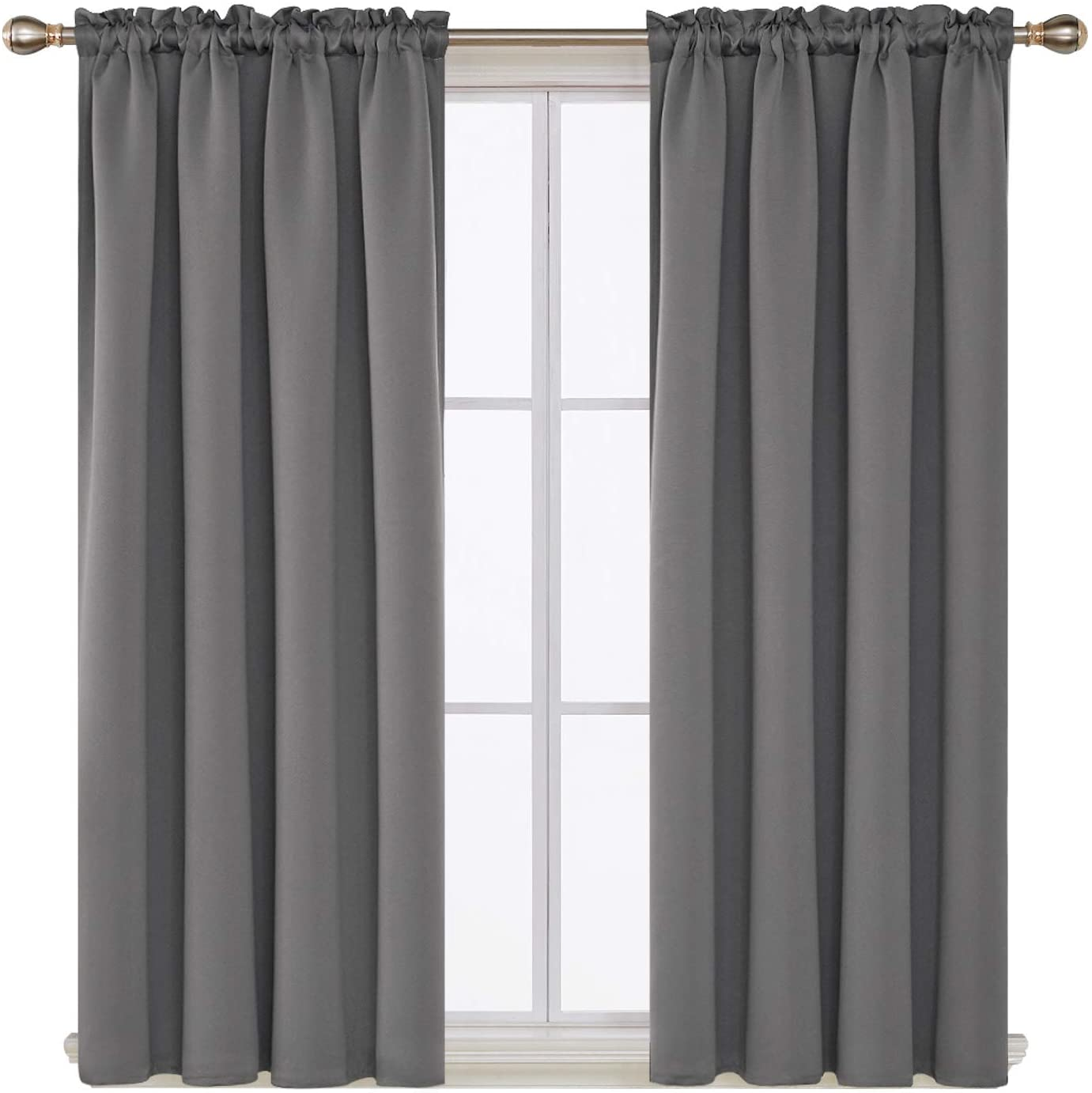 deconovo light grey blackout curtains rod pocket curtain panels thermal insulated curtains for nursery 52w x 45l inch 2 panels