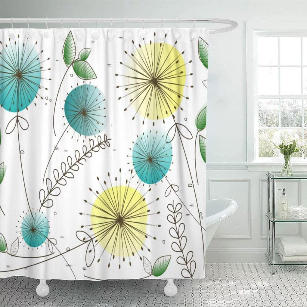 cynlon modern mid century dandelion yellow and blue vintage inspired bathroom decor bath shower curtain 66x72 inch