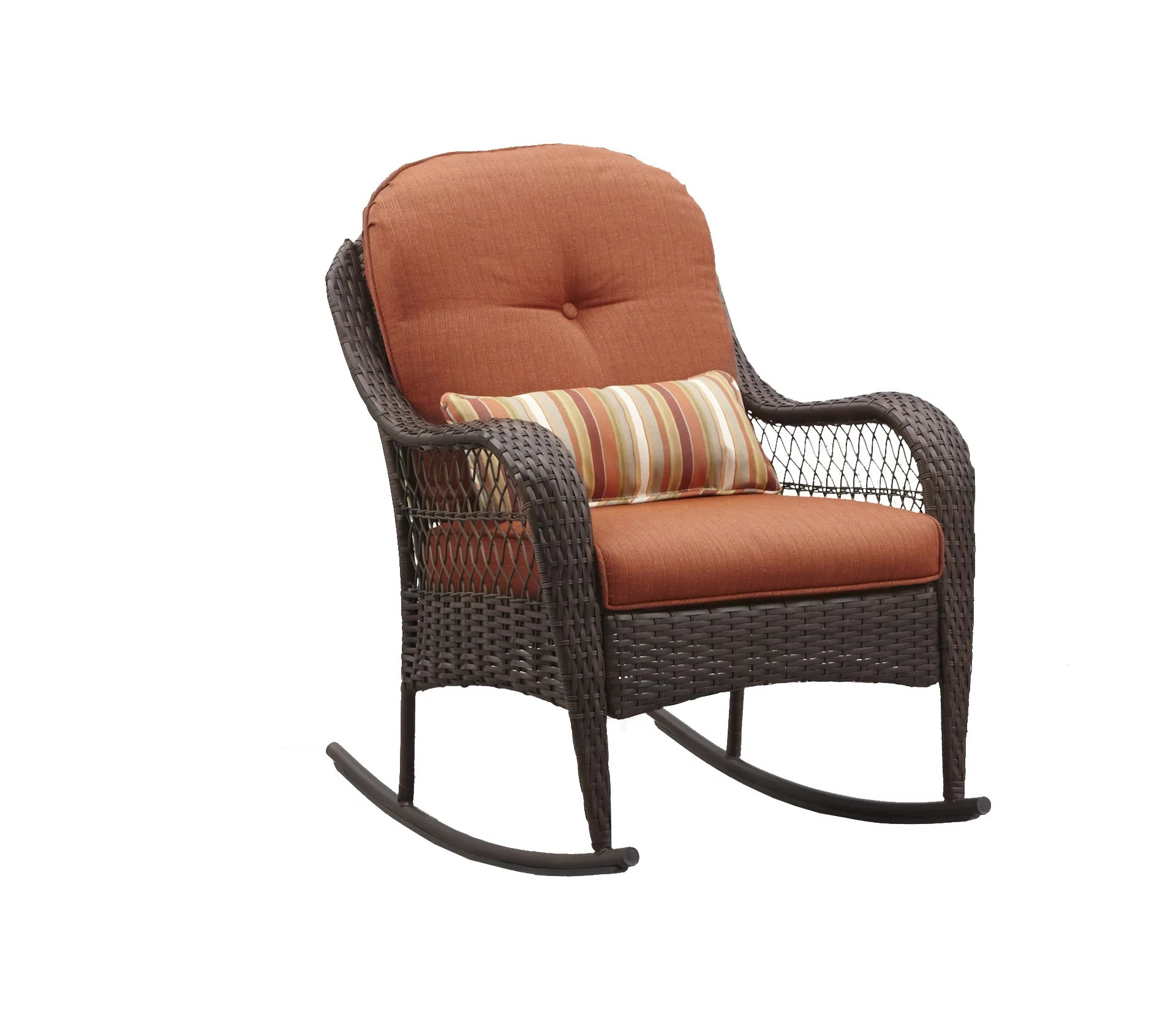 better homes gardens azalea ridge outdoor wicker rocking chair orange