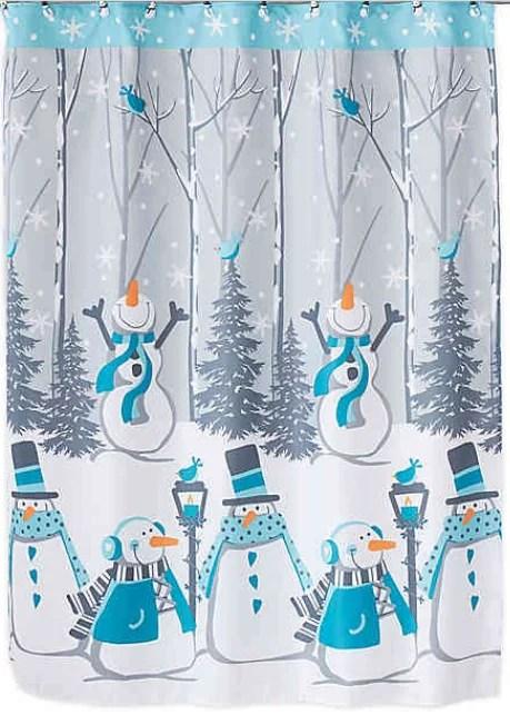 winter wonderland snow buddies fabric shower curtain 70 x 72