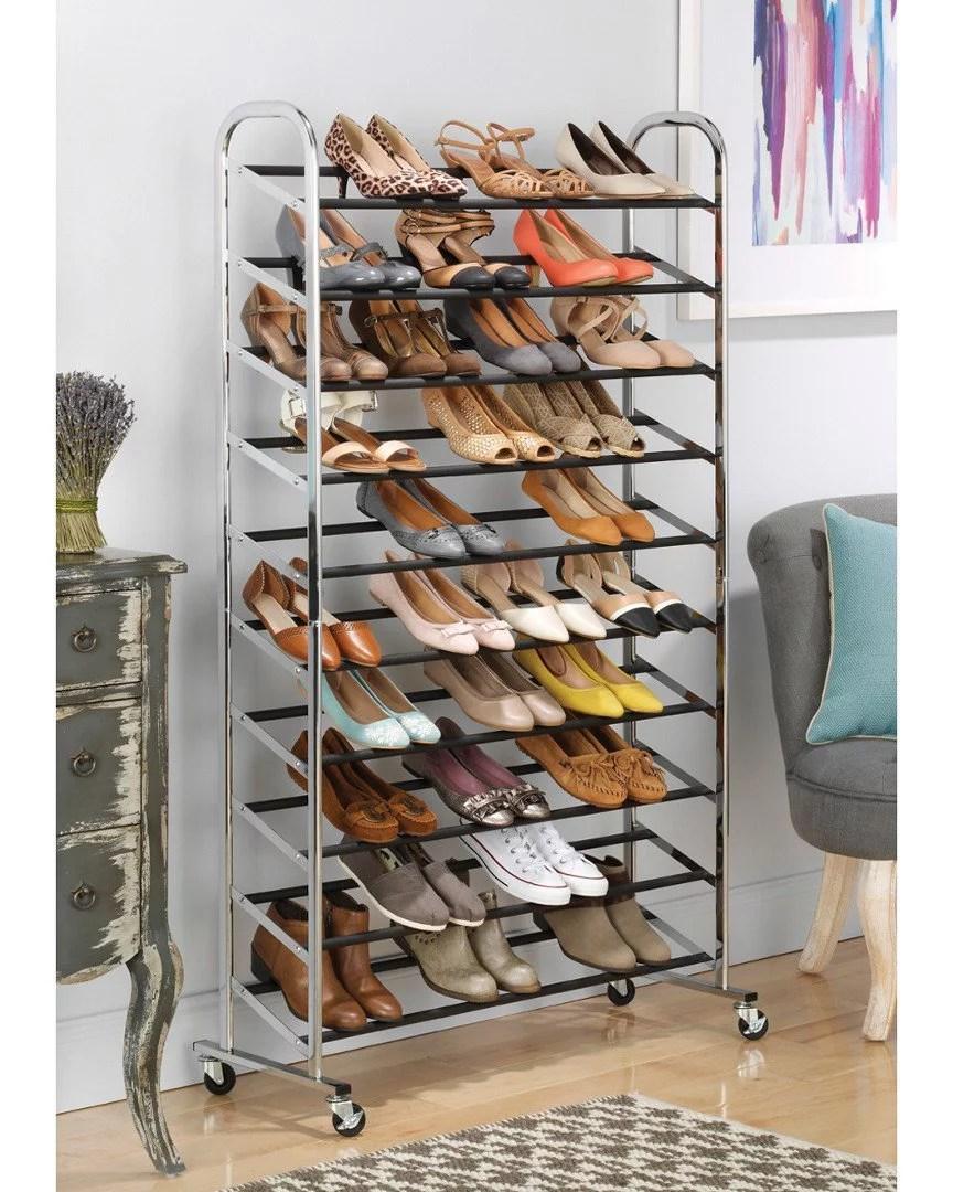 whitmor 10 tier rolling shoe rack tower 50 pair chrome