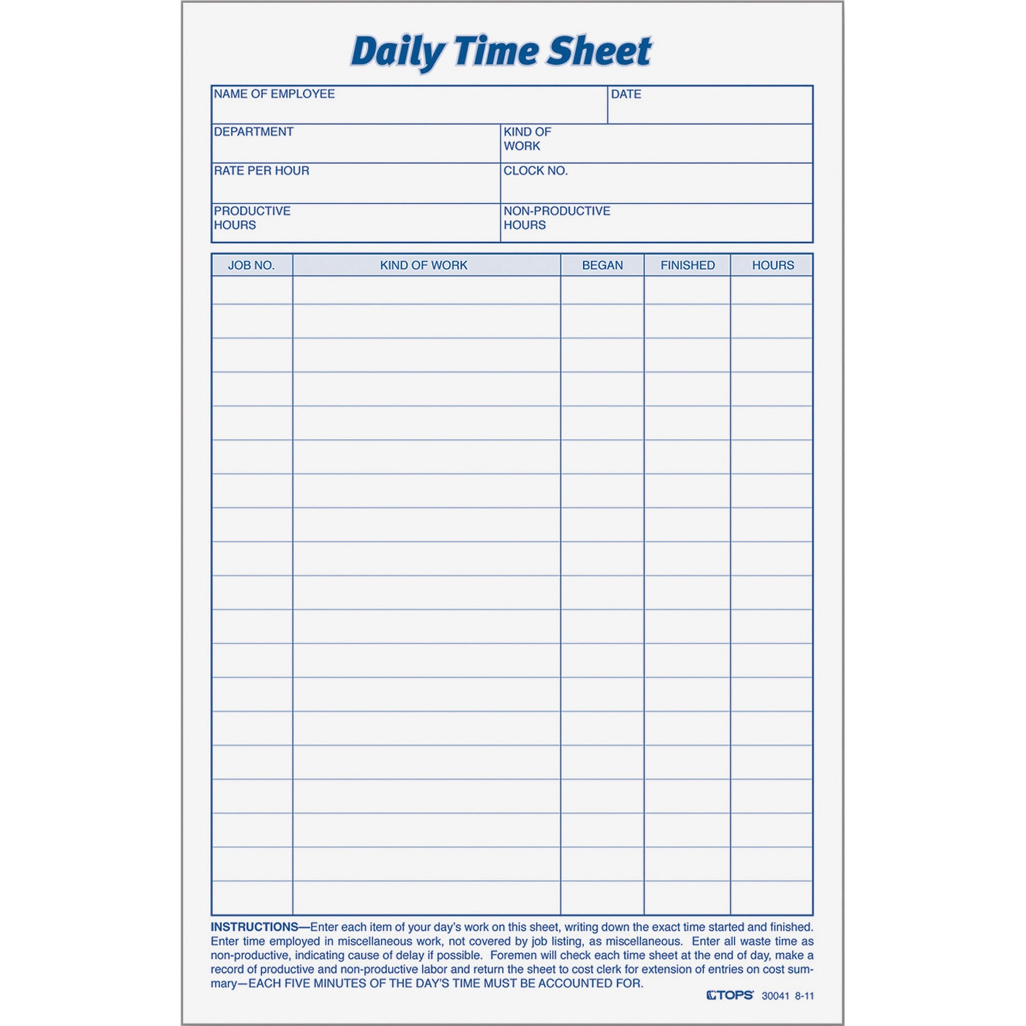 Tops Top Daily Time Sheet Form 2 Pack White
