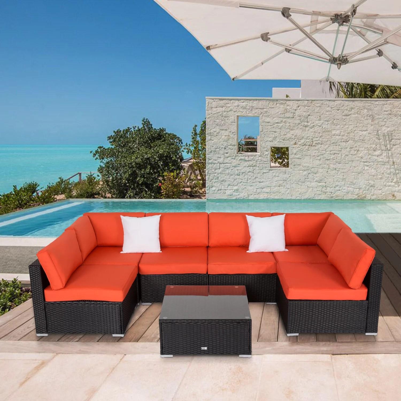 kinbor 7pcs outdoor patio furniture sectional pe rattan wicker rattan sofa set with orange cushions walmart com