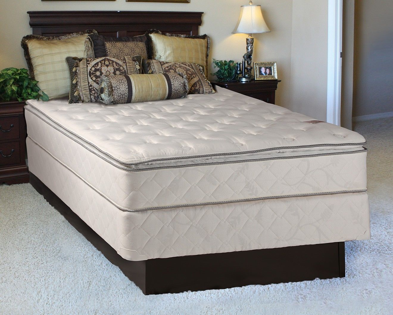 sunset plush inner spring pillowtop full size mattress and boxspring set 54 x75 x10 fully assembled orthopedic great back support and