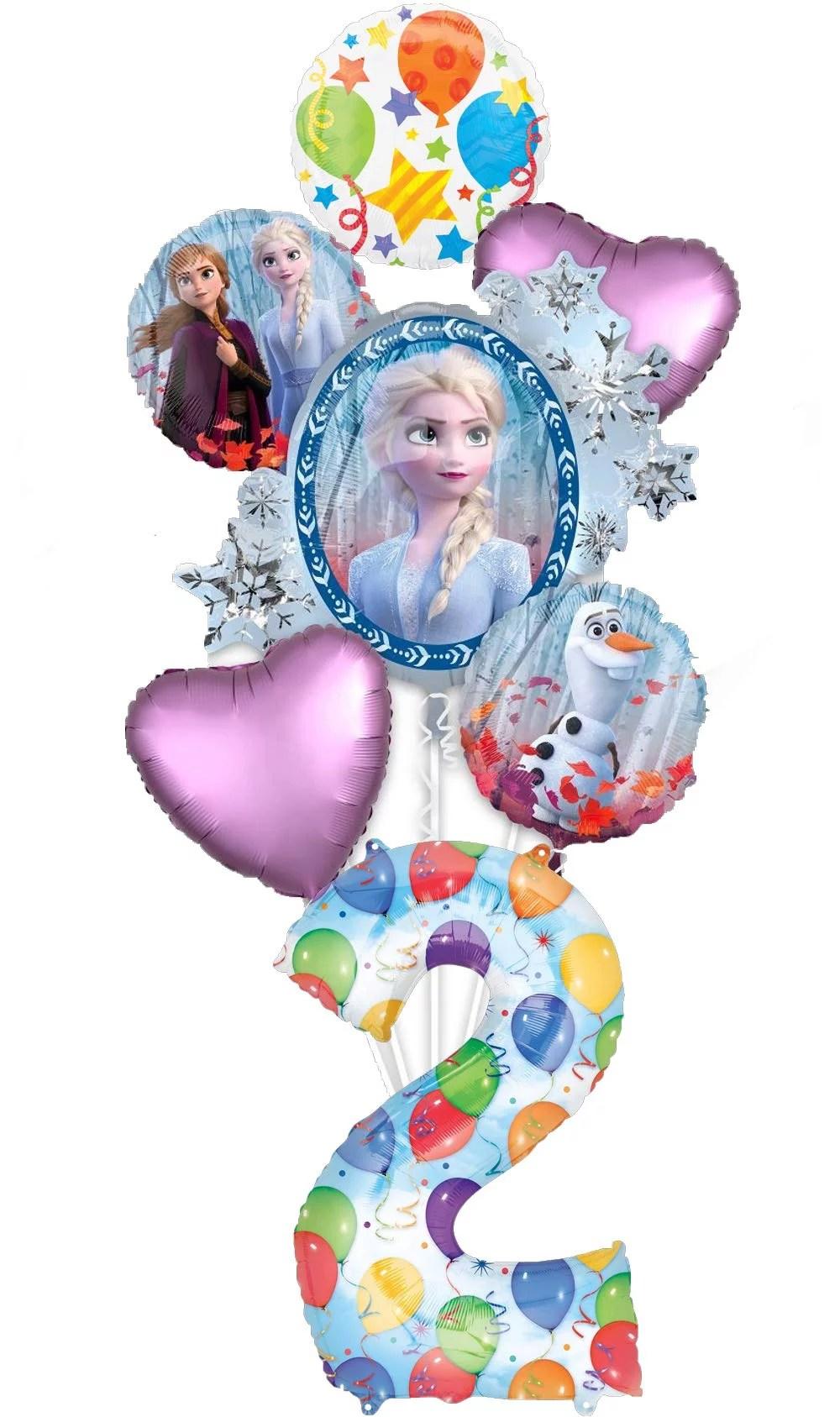 Frozen 2 Party Supplies 2nd Birthday Elsa Anna And Olaf Balloon Bouquet Decorations Walmart Com Walmart Com