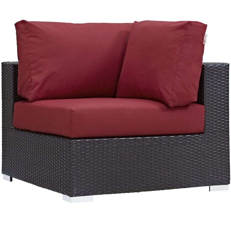 hawthorne collection patio corner chair in espresso and red