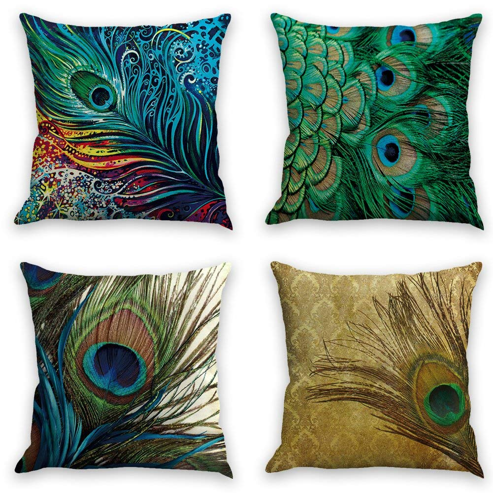 peacock feather gorgeous parrent throw pillow covers 18 x 18 set of 4 pillowcase cover accent pillows for sofa cushion covers decorative home decor