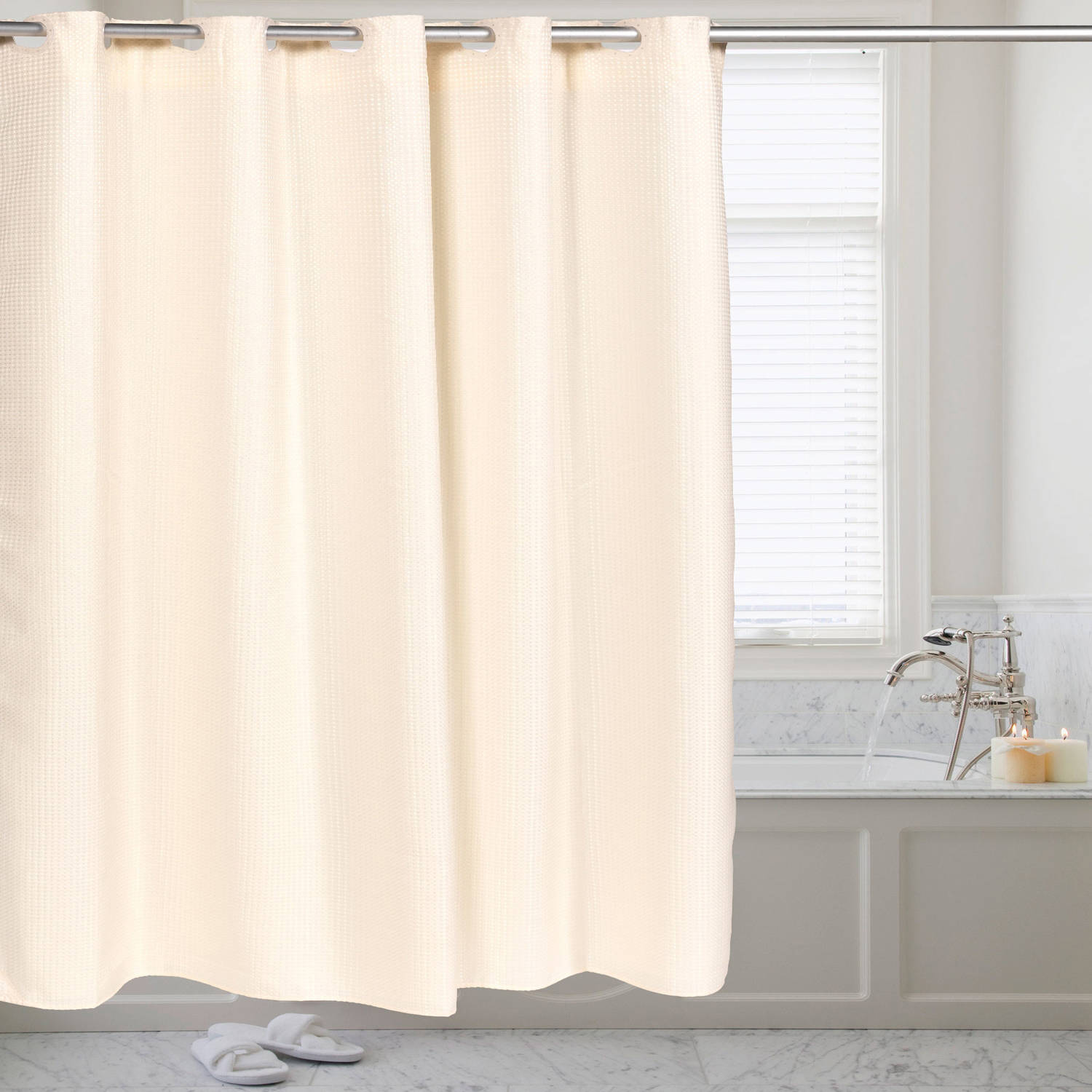 fabric shower curtain waffle weave hookless with snap off liner 70 x 75 walmart com