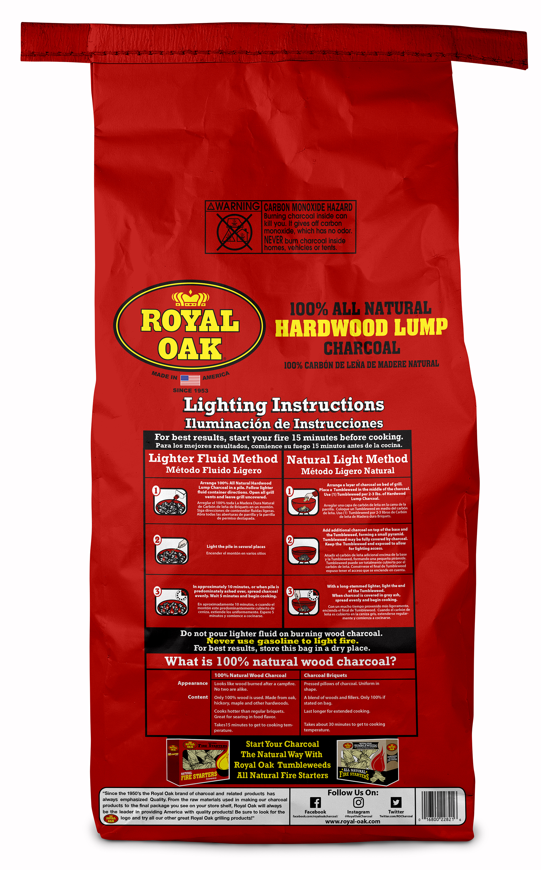 royal oak lump charcoal all natural hardwood charcoal 15 4 lbs walmart com walmart com