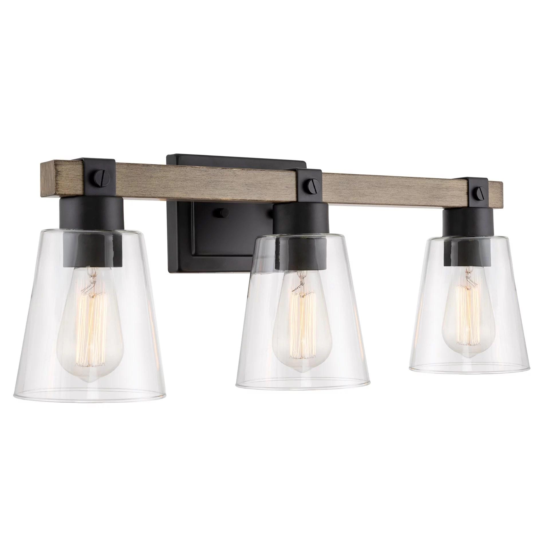 kira home asher 23 3 light farmhouse vanity bathroom light funnel glass shades smoked birch wood style black