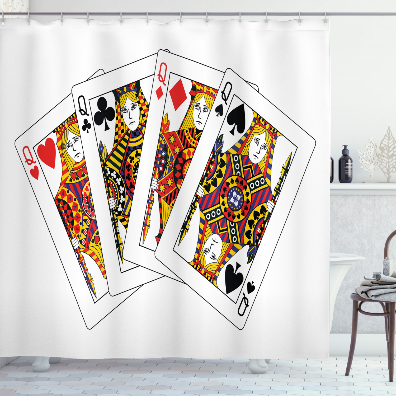 queen shower curtain queens poker set faces hearts and spades gambling theme symbols playing cards fabric bathroom set with hooks black red yellow