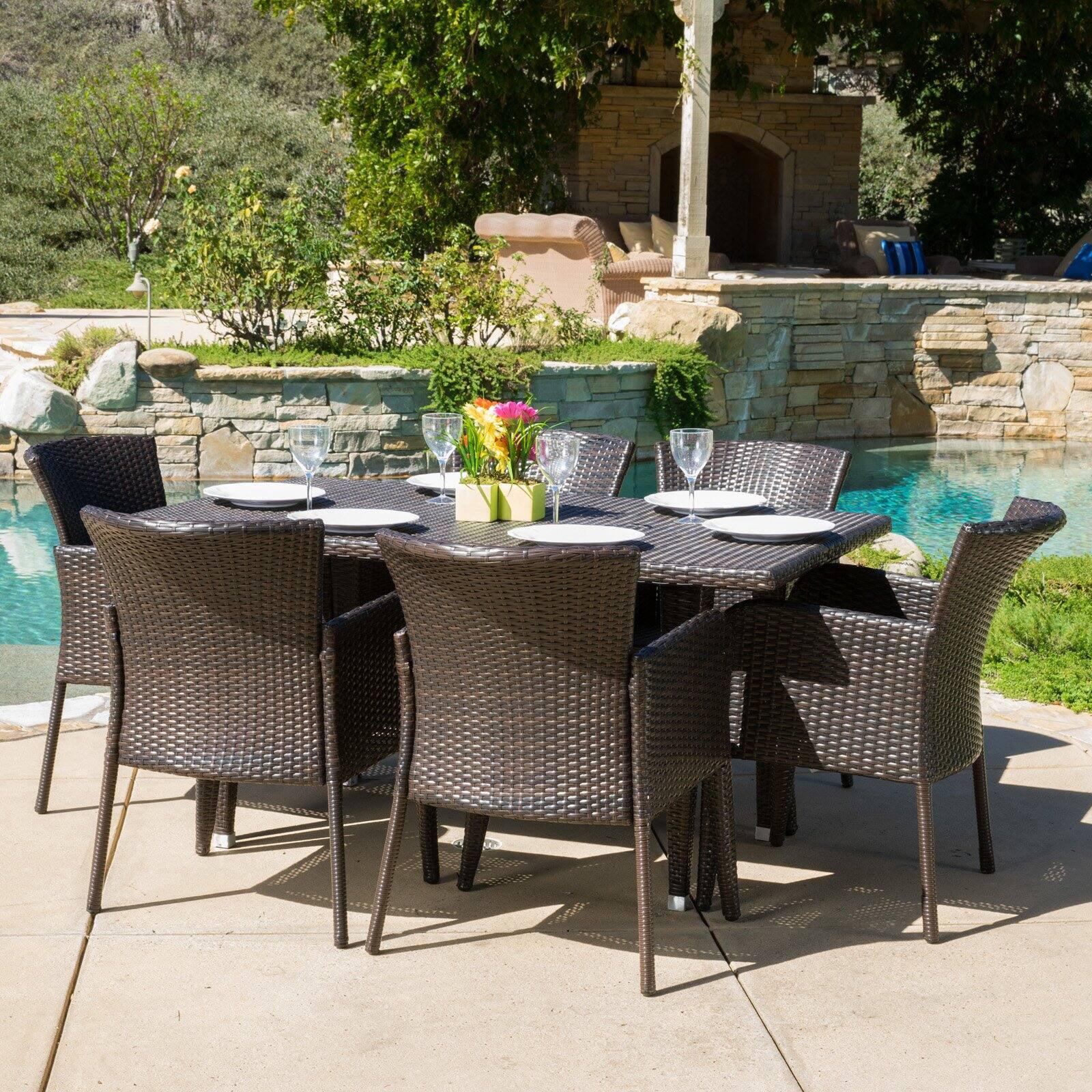 rio de janeiro wicker 7 piece rectangular patio dining set