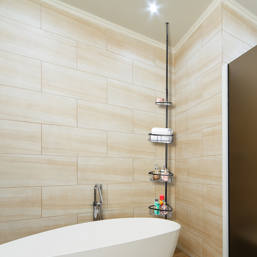 tablette de douche de salle de bain avec poteau de tension pour baignoire et douche 4 niveaux