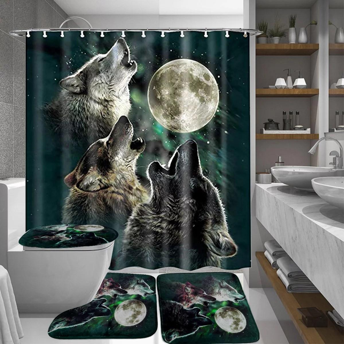 moon wolf bathroom 4pcs set waterproof shower curtain base pedestal rug non slip bath mats toilet lid seat cover for home kitchen