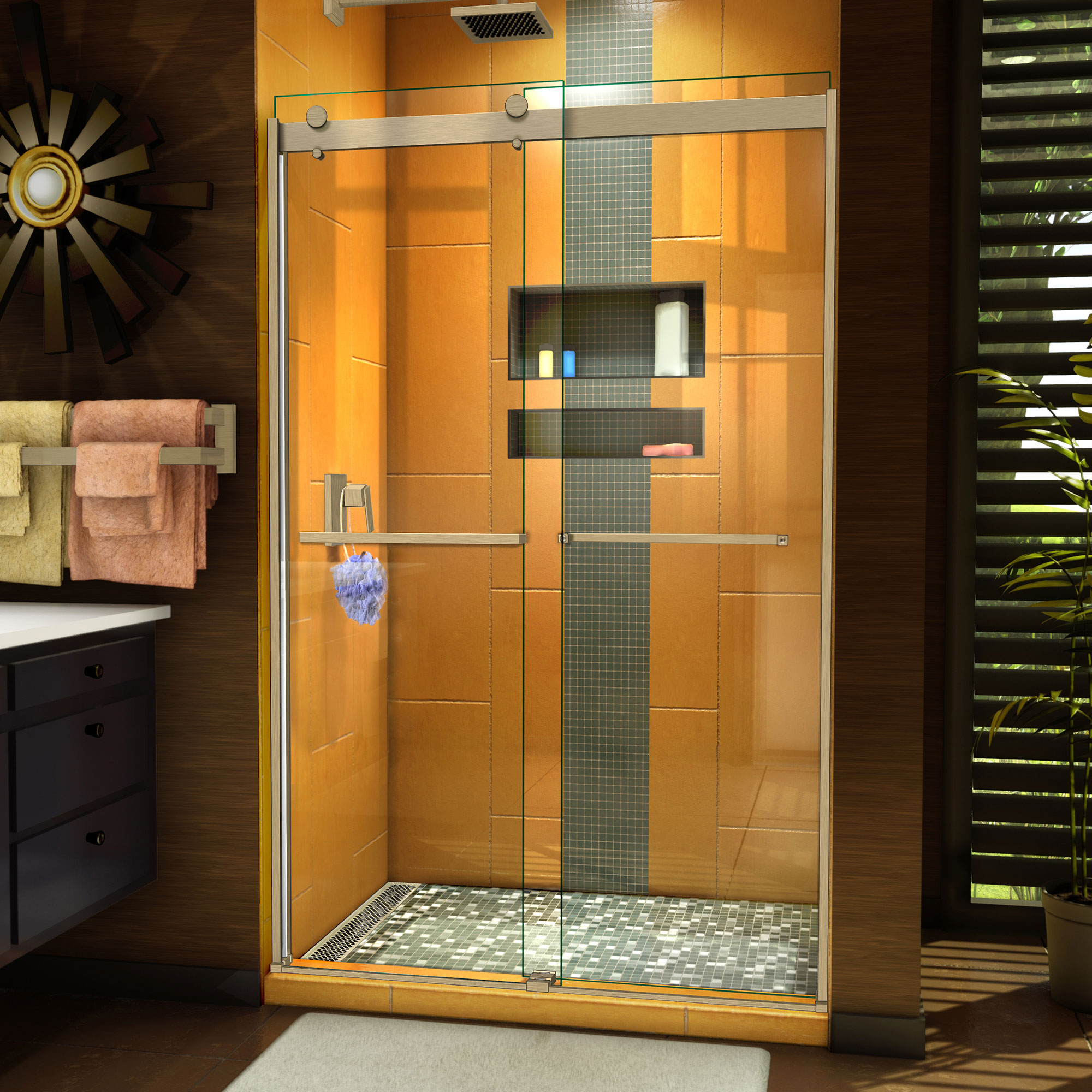 Dreamline Sapphire 44 48 In W X 76 In H Semi Frameless Bypass Shower Door In Brushed Nickel