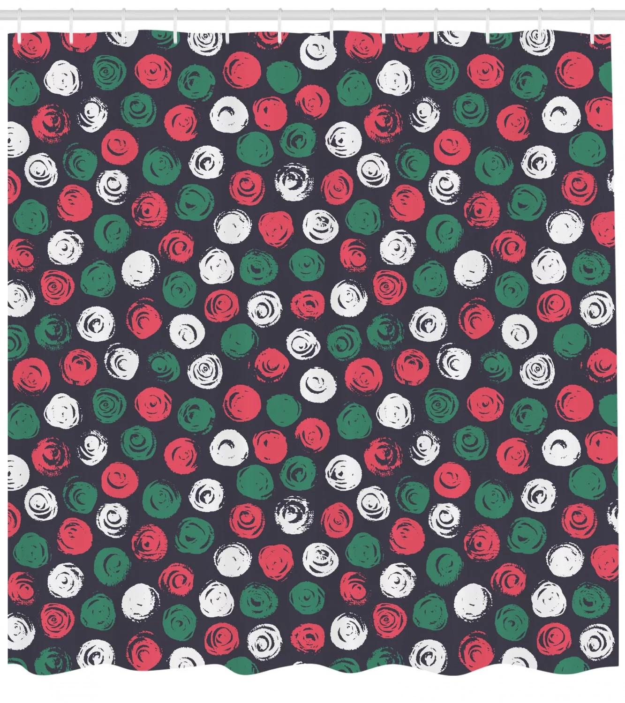 Grunge Shower Curtain Abstract Flowers Round Brush Stroke