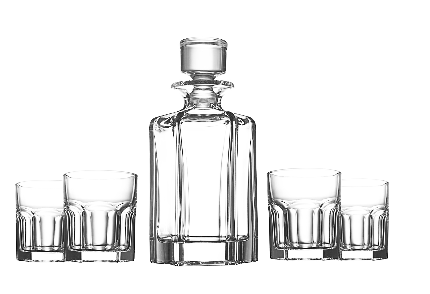 Crystal Glass Whiskey Decanter Set With 4 Medium Matching