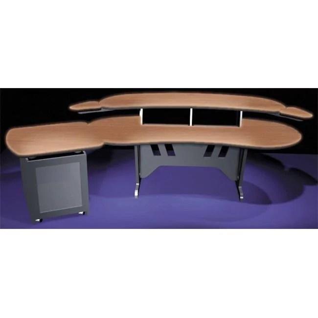 middle atlantic products elur plus s12d dc 84 in desk with overbridge 2 racks 1 bay 12 space rack dark cherry