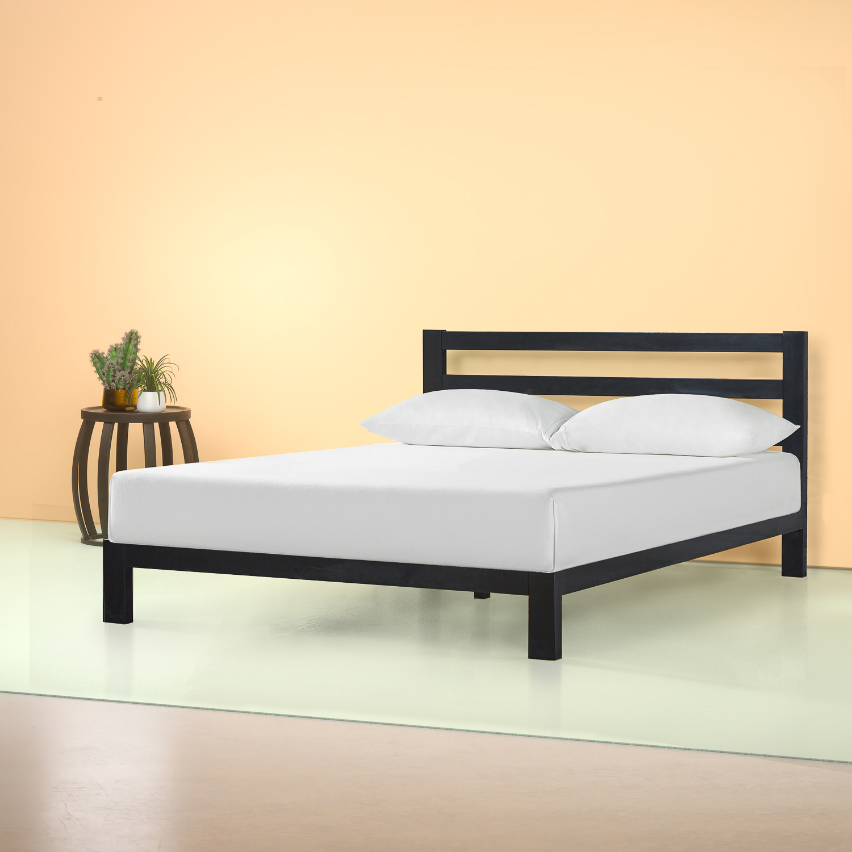 zinus arnav modern studio 36 black metal platform bed with headboard full