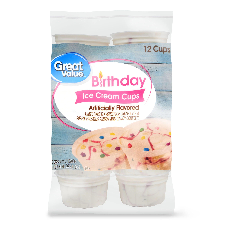 Great Value Birthday Bash Ice Cream Cups 3 Fl Oz 12 Ct Walmart Com Walmart Com