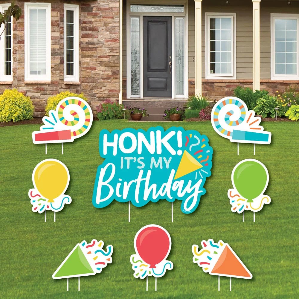 Honk It S My Birthday Yard Sign And Outdoor Lawn Decorations Birthday Party Parade Yard Signs Set Of 8 Walmart Com Walmart Com