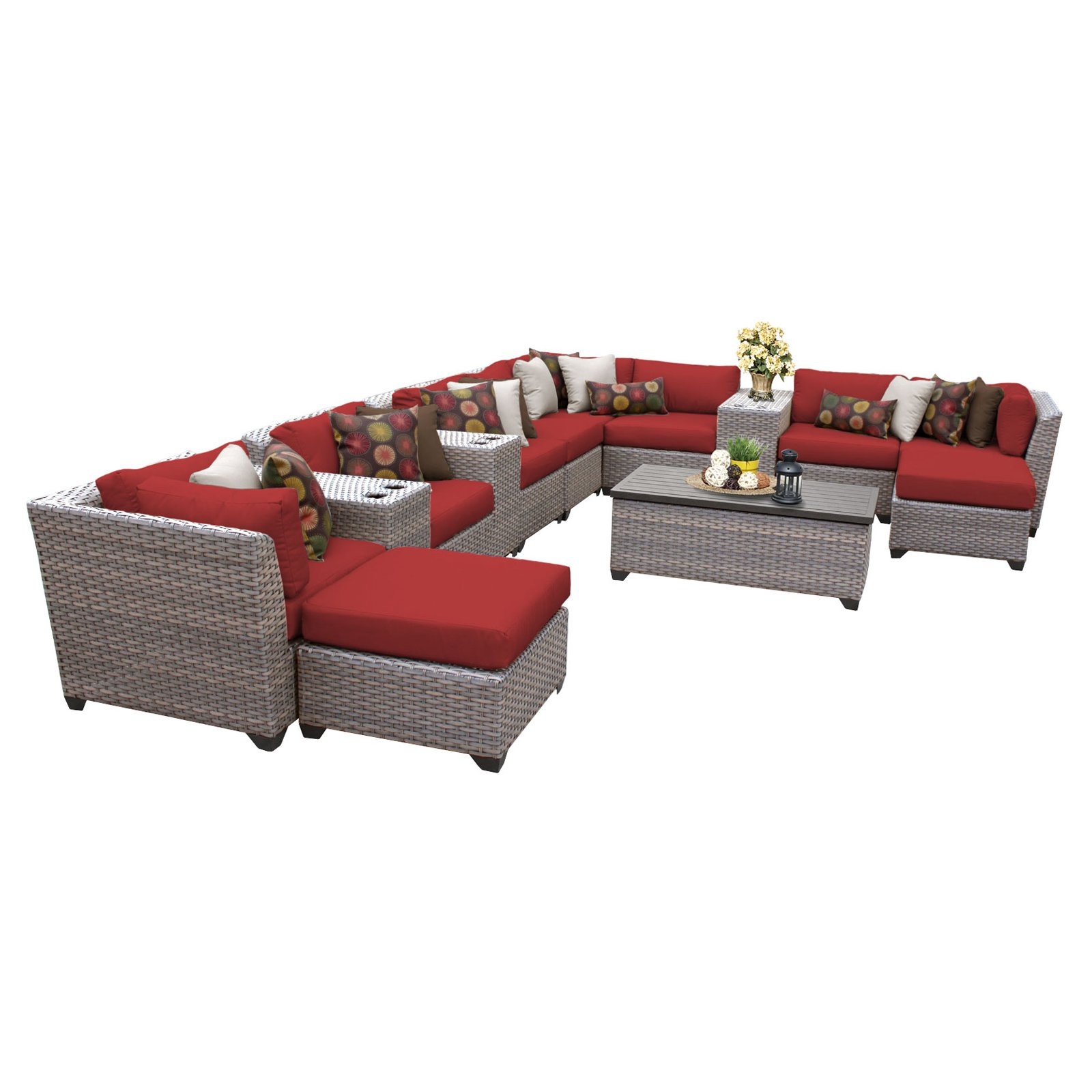 tk classics florence wicker 14 piece patio conversation set with 2 sets of cushion covers