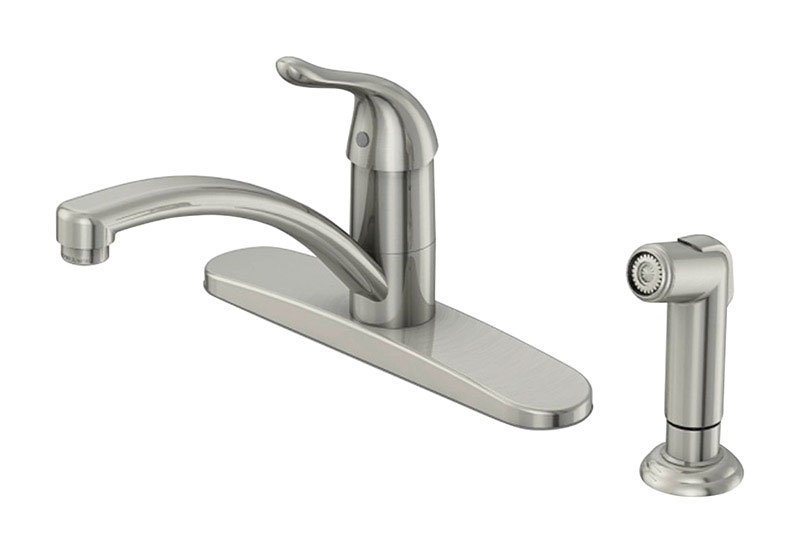 oakbrook pacifica one handle kitchen faucet with deck mount side sprayer