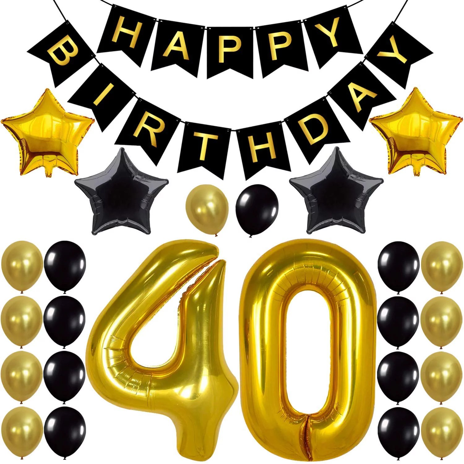 30th Birthday Party Decorations Kit Happy Birthday Banner 30th Gold Number Balloons Gold And Black Number 30 Perfect 30 Years Old Party Supplies Walmart Com Walmart Com