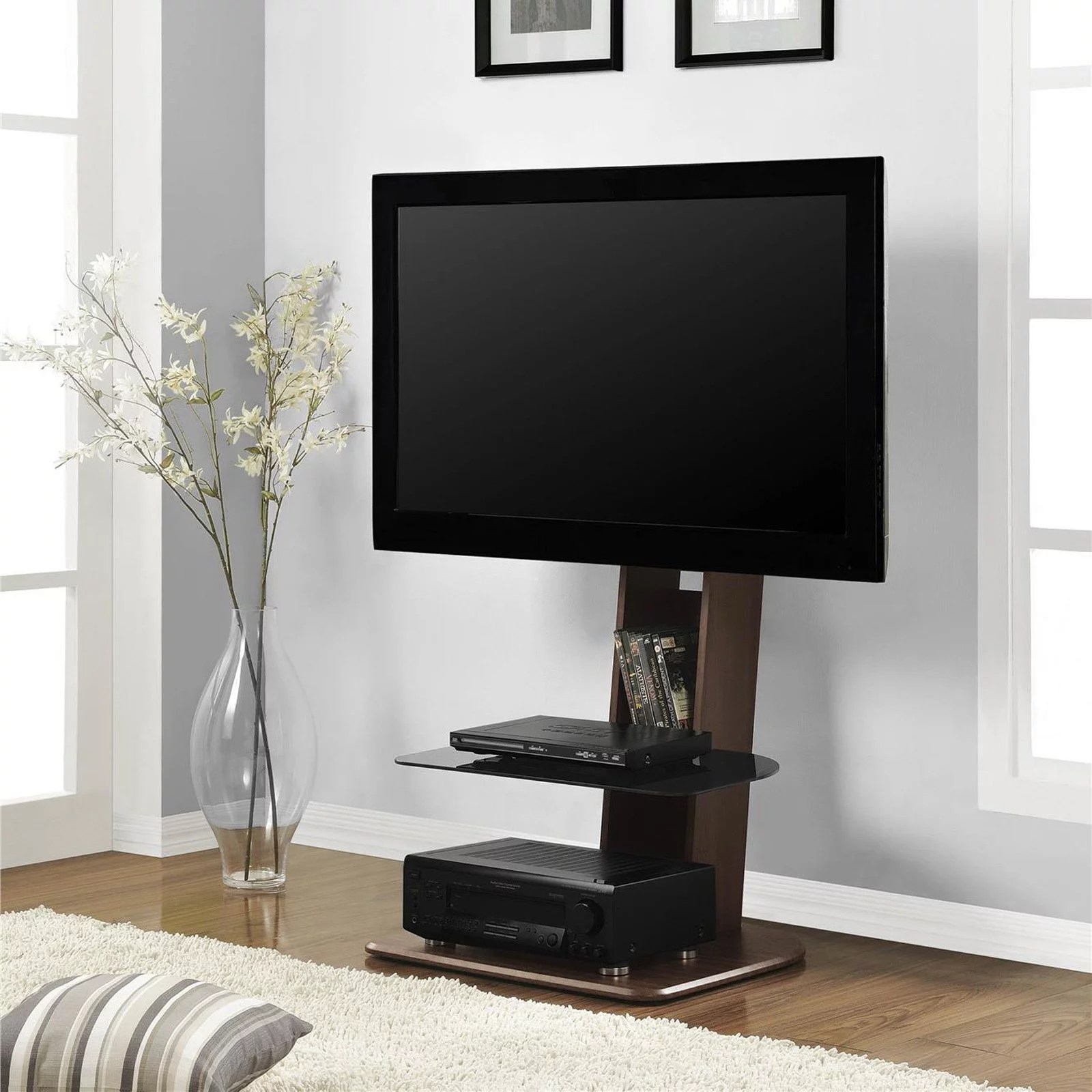 ameriwood home galaxy tv stand with mount for tvs up to 50 wide walnut