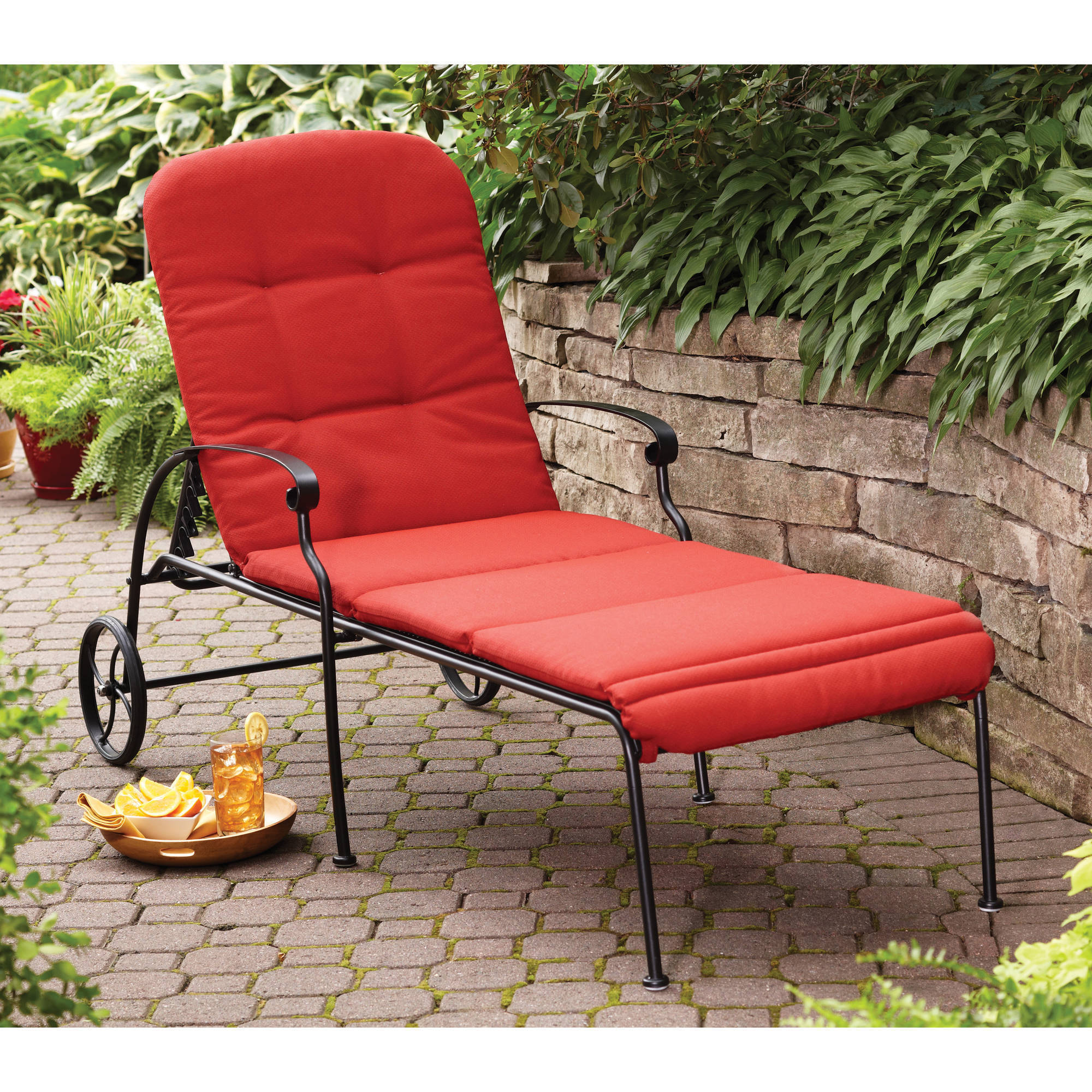 better homes gardens clayton court chaise lounge with wheels red