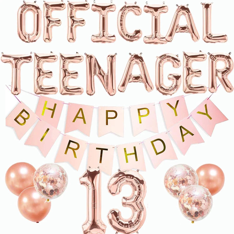 Official Teenager Birthday Decorations 13th Birthday Decorations Girls Boys Official Teenager Banner Rose Gold 13 Year Old Birthday Decorations 13 Balloon Numbers Thirteen Birthday Party Supplies Walmart Com Walmart Com
