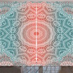 Coral And Teal Curtains 2 Panels Set Modern Tribal Mandala Tibetan Healing Motif With Floral Geometric Ombre Art Window Drapes For Living Room Bedroom 108w X 90l Inches Coral Teal By Ambesonne