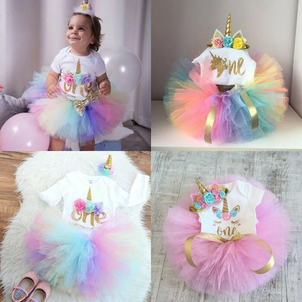 3pcs Baby Girl 1st Birthday Outfit Party Unicorn Romper Cake Smash Tutu Dress Tulle Skirts Headband 0 24 Months Walmart Canada