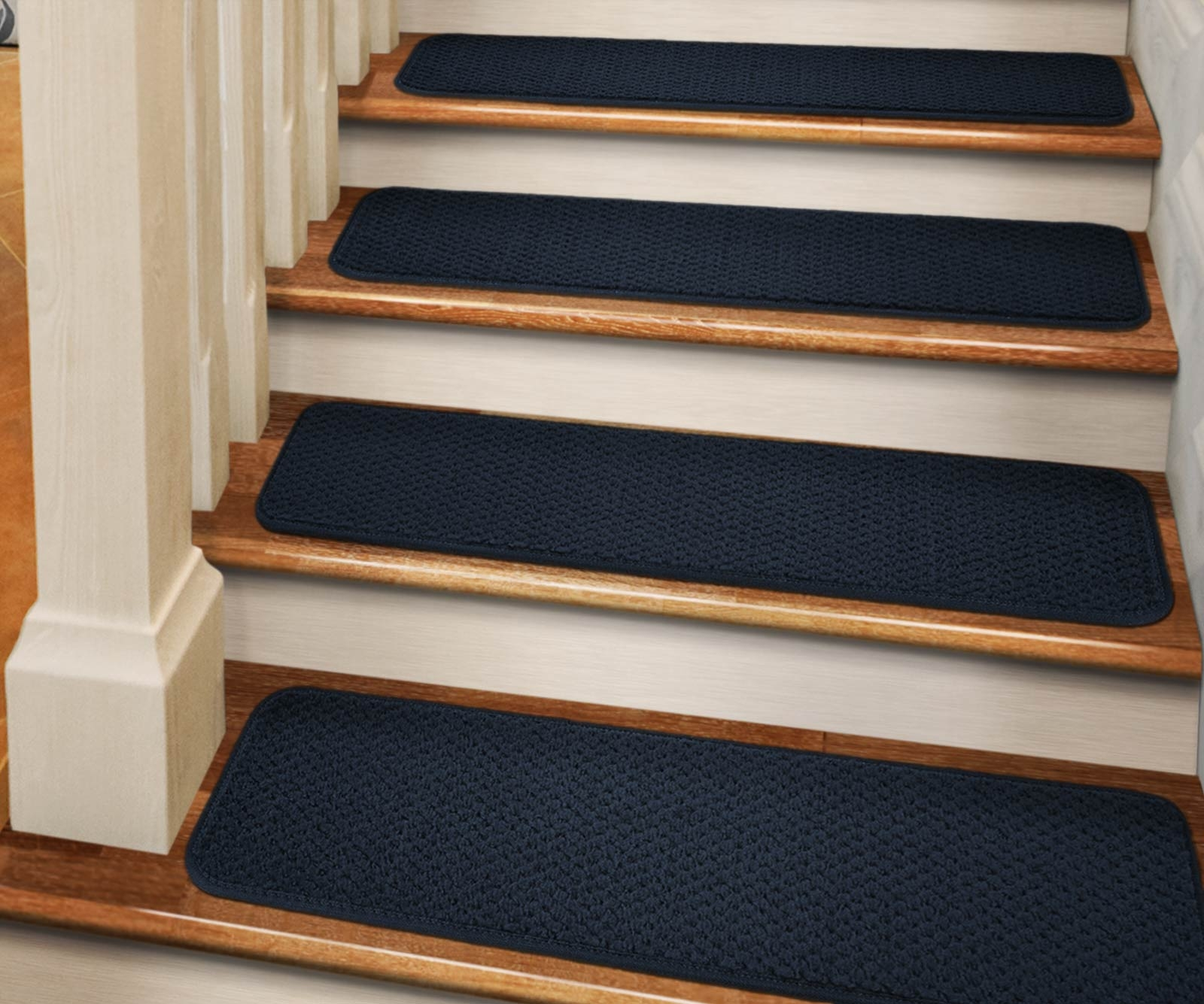 Set Of 12 Adhesive Carpet Stair Treads Navy Blue 9 In | 36 Carpet Stair Treads