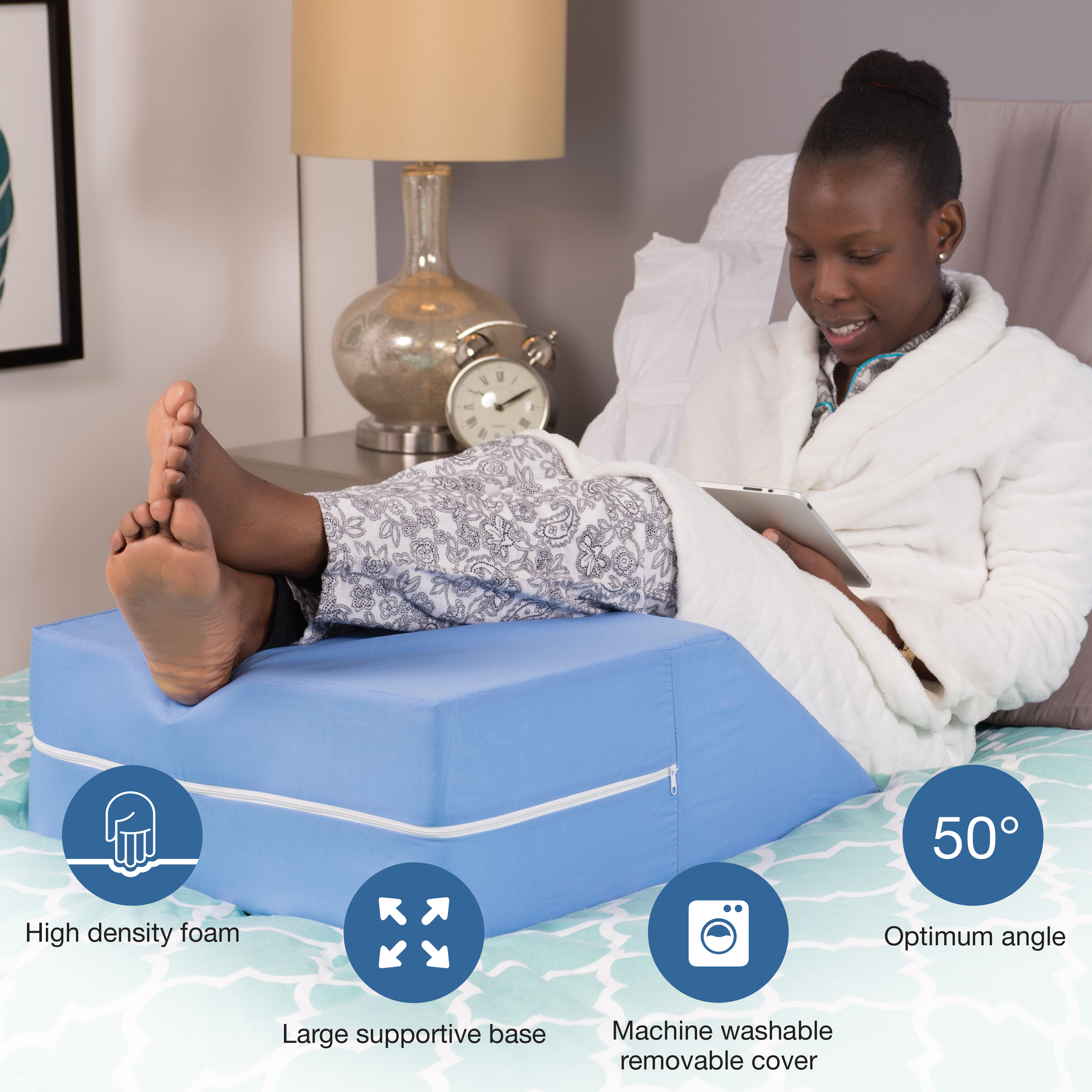 dmi ortho bed wedge elevated leg pillow supportive foam wedge pillow for elevating legs improved circulation reducing back pain post surgery and