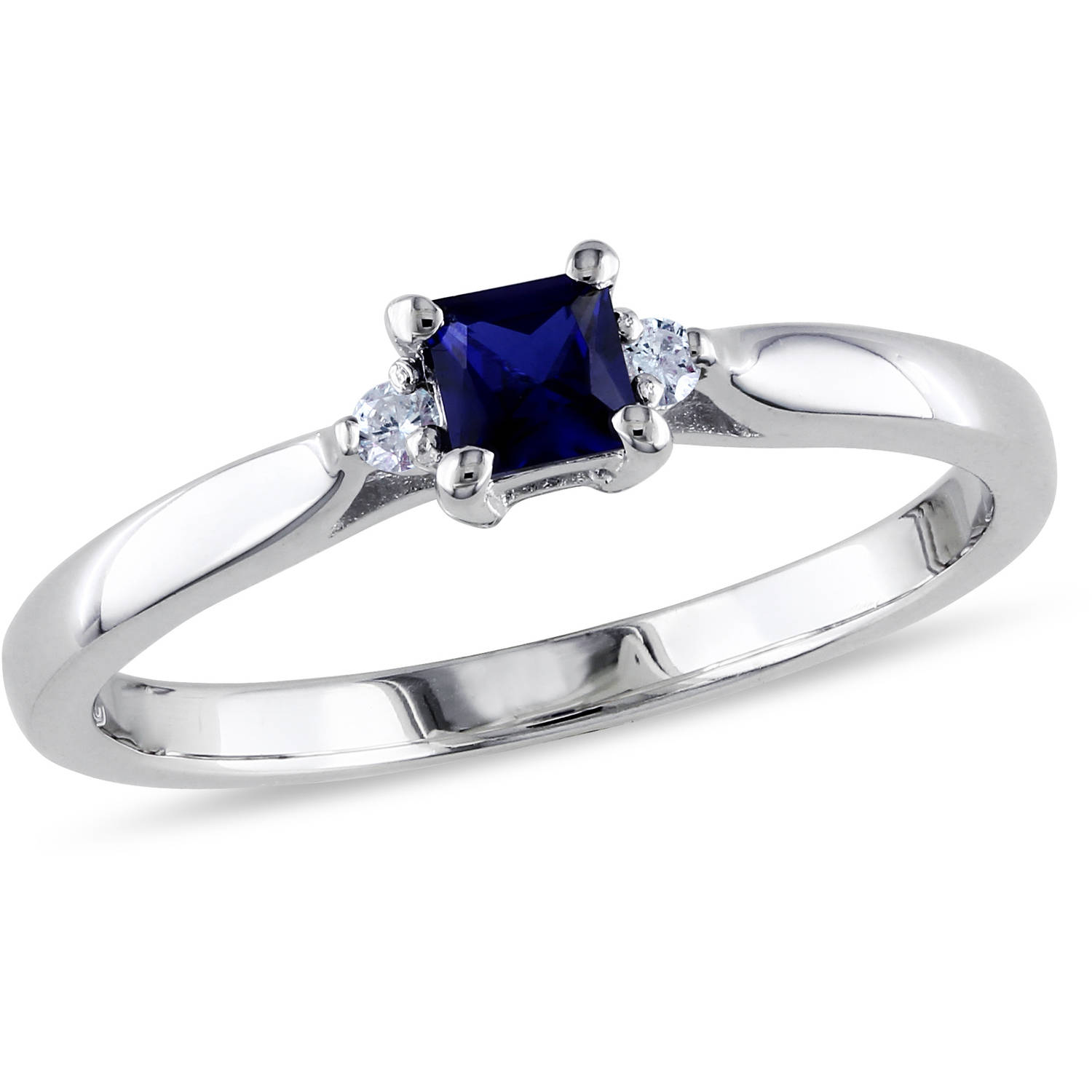 Tangelo 1 3 Carat T G W  Princess Cut Created Blue Sapphire and     Tangelo 1 3 Carat T G W  Princess Cut Created Blue Sapphire and Diamond Accent  Sterling Silver Engagement Ring   Walmart com