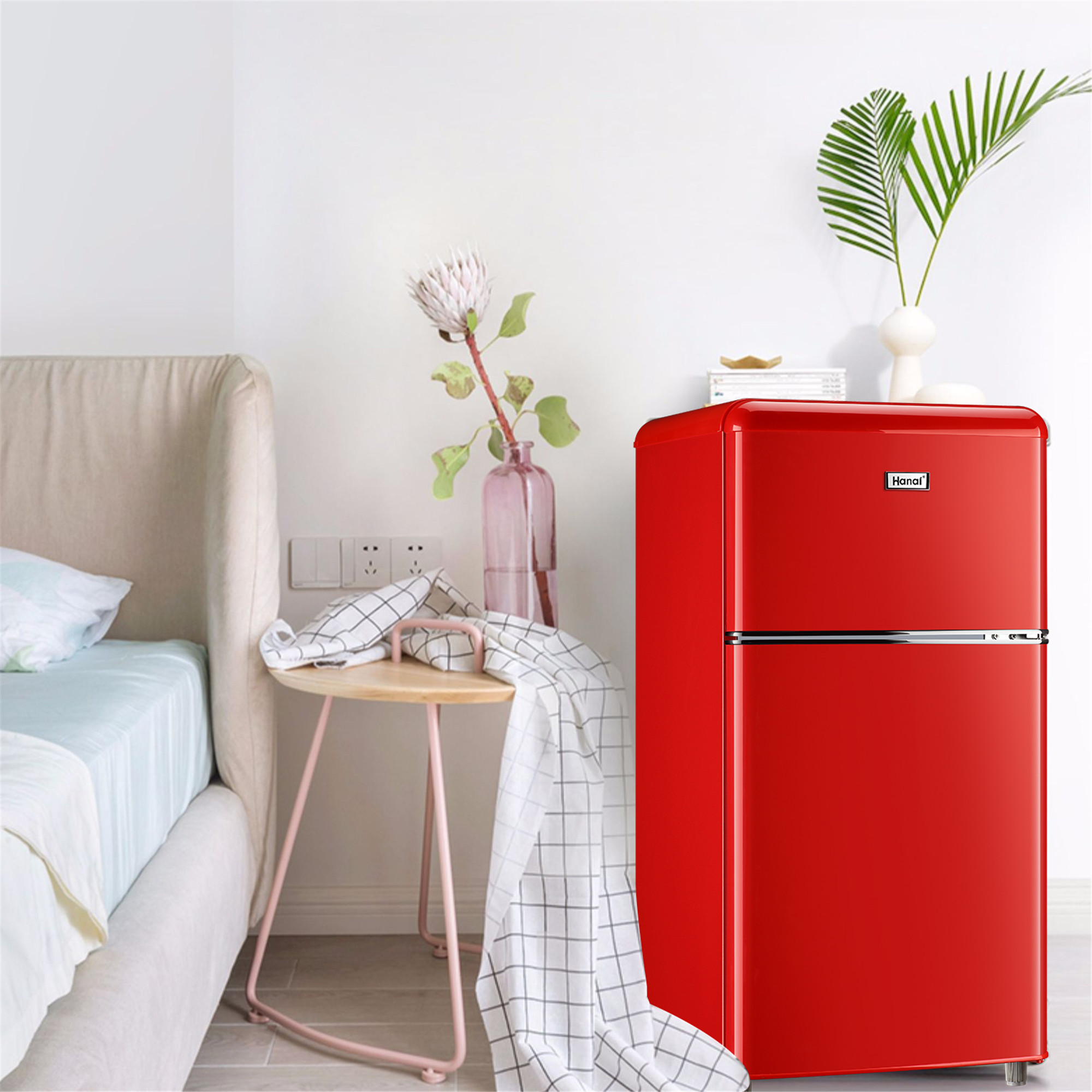 small fridge for dorm wanai 3 2 cu ft two door mini fridge classic retro refrigerator for home garage and office walmart com