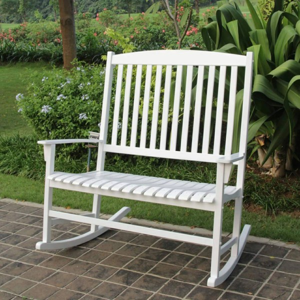 Patio Loveseat White Hardwood Outdoor Rocking Chair for 2     Patio Loveseat White Hardwood Outdoor Rocking Chair for 2
