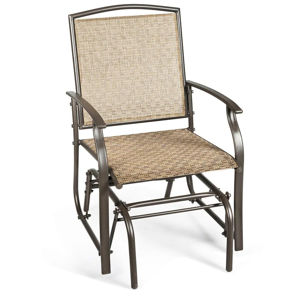 costway patio swing single glider chair rocking seating steel frame garden furni brown walmart com