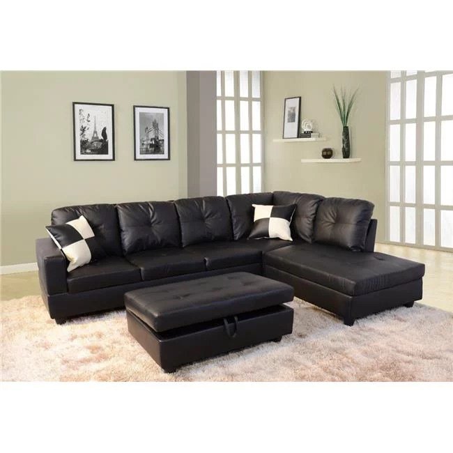beverly fine furniture f91b 3pc cavenzi delcblack faux leather right facing sectional sofa set walmart com