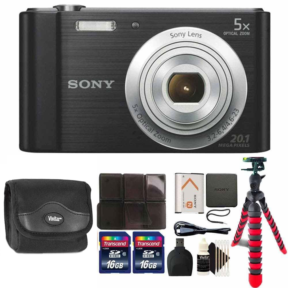 Sony Cyber-shot DSC-W800 Digital Camera (Black) with 32GB Accessory Kit