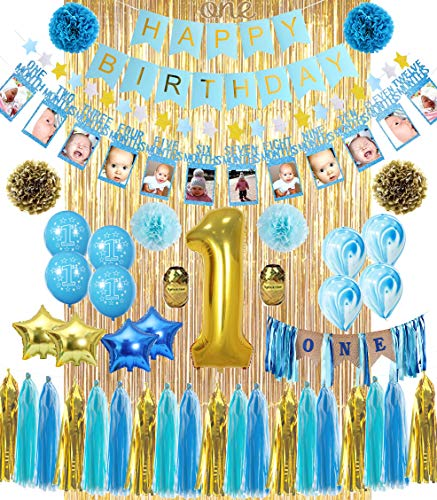 1st Birthday Boy Decorations All In 1 Mega Bundle With High Chair Banner For Baby Discount Direct Kids Party Decorations Blue Gold Boys Set 1 Birthday Balloon Marble