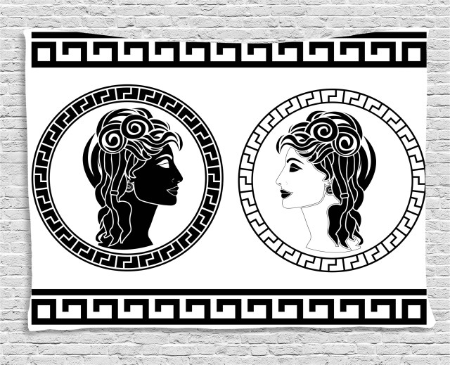 toga party tapestry, roman aristocrat woman profiles circular classical frames hairstyle beauty, wall hanging for bedroom living room dorm decor, 80w