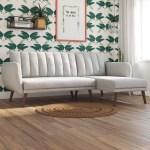 Novogratz Brittany Sectional Futon Sofa Light Grey Linen Walmart Com Walmart Com