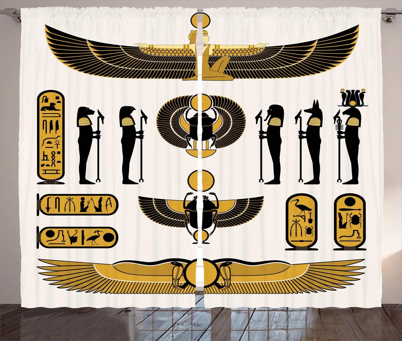 Egyptian Decor Curtains 2 Panels Set Illustration Of Old